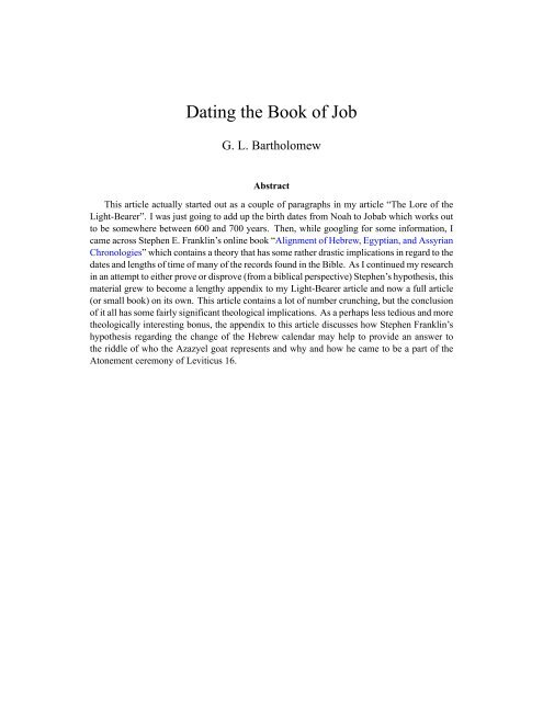 dating the book of job
