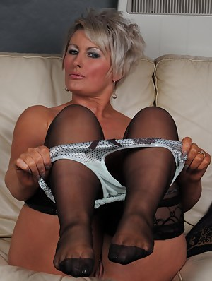 and mature in suspenders women stockings