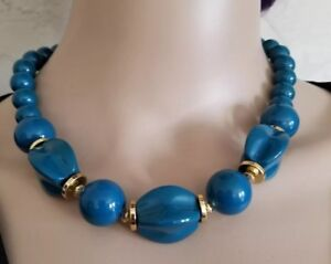 tone necklace gold plastic vintage turquoise